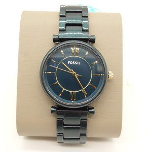 NWT FOSSIL Carlie Watch Teal Stainless Steel Band